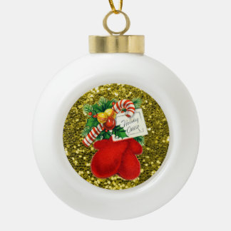 Red Mittens Candy Cane Gold Faux Glitter Ceramic Ball Christmas Ornament