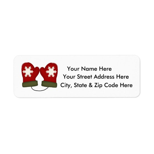 red mittens christmas return address labels zazzle com