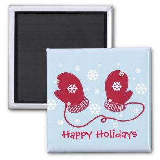 Red Mittens - Happy Holidays Magnet