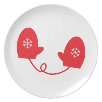Red Mittens Melamine Plate