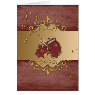 Red Mittens with Sprinkles and Snowflakes on Gold Card