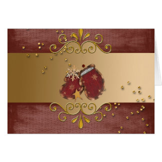 Red Mittens with Sprinkles and Snowflakes on Gold Greeting Card