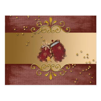 Red Mittens with Sprinkles and Snowflakes on Gold Postcard
