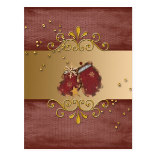 Red Mittens with Sprinkles and Snowflakes on Gold Post Card