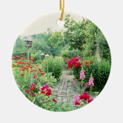 Red Mixed Cottage Garden - Peony, Pyrethrum, Alliu Ornament