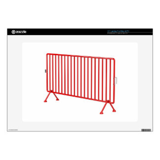 Red mobile fence decal for laptop