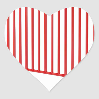Red mobile fence heart sticker