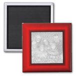 Red Mock Frame Border 2 Inch Square Magnet