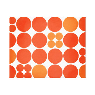 Red mod dot stretched canvas print