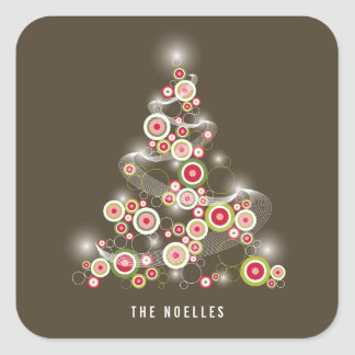 Red Mod Sparkling Circles Christmas Tree Sticker