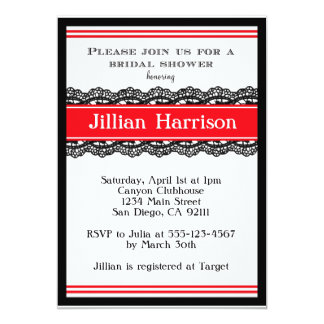 Red Modern Bridal Wedding Shower Invitations