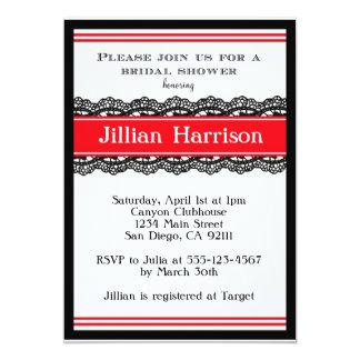 Red Modern Bridal Wedding Shower Invitations