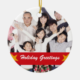 Red Modern Family Holiday Photo Ornament