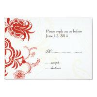 Red Modern Floral Wedding Invitation RSVP Card (<em>$2.39</em>)