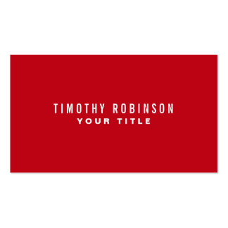 Red modern generic simple masculine personal Double-Sided standard business cards (Pack of 100)