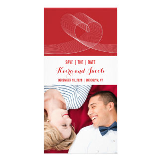 Red Modern Loopy Love Lines Wedding Save The Date Photo Card Template