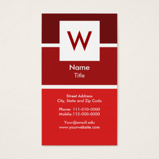 Red Modern Monogram Business Card