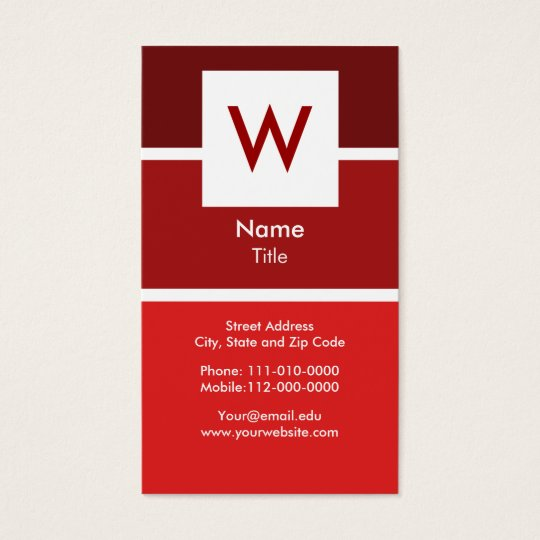 Red Modern Monogram Business Card