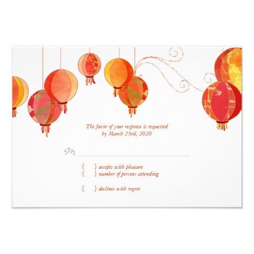 Red Modern Paper Lanterns Wedding RSVP (3.5x5) Invitations