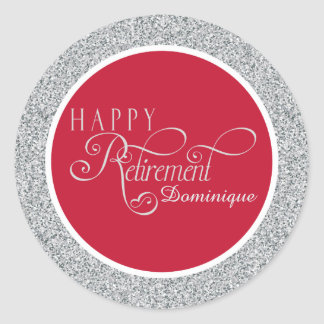 Red Modern Retirement Party Stickers