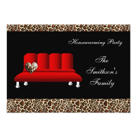 Red Modern Sofa Housewarming Party Invitations