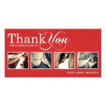 RED MODERN THANKS   WEDDING THANK YOU CARD PICTURE CARD