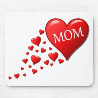 Red Mom Hearts Mouse Pad