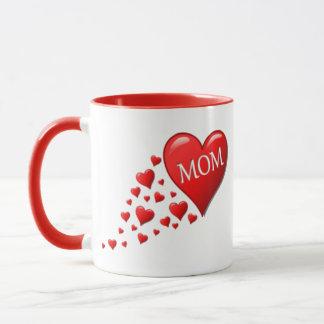 Red Mom Hearts Mug