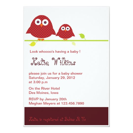 Red  Moma and Baby Owls-baby shower invitations