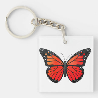 Red Monarch Butterfly Keychain