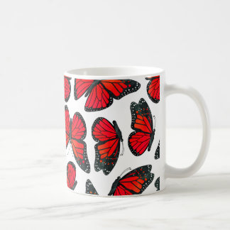 Red Monarch Butterfly Pattern Coffee Mug