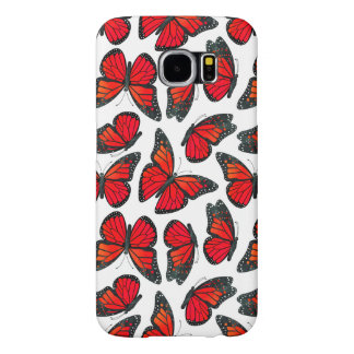 Red Monarch Butterfly Pattern Samsung Galaxy S6 Case