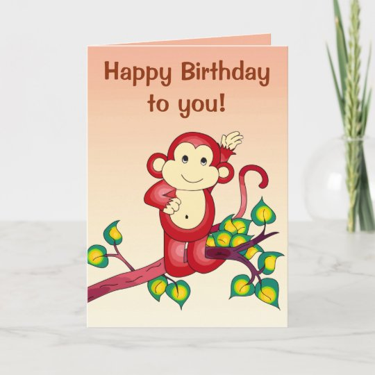 Red Monkey Animal Birthday Card Zazzle
