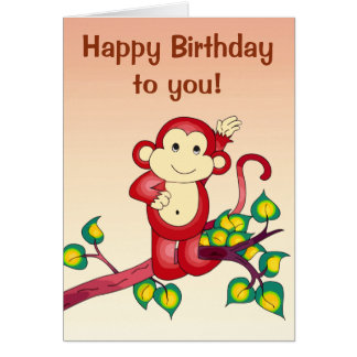 Red Monkey Animal Birthday Card