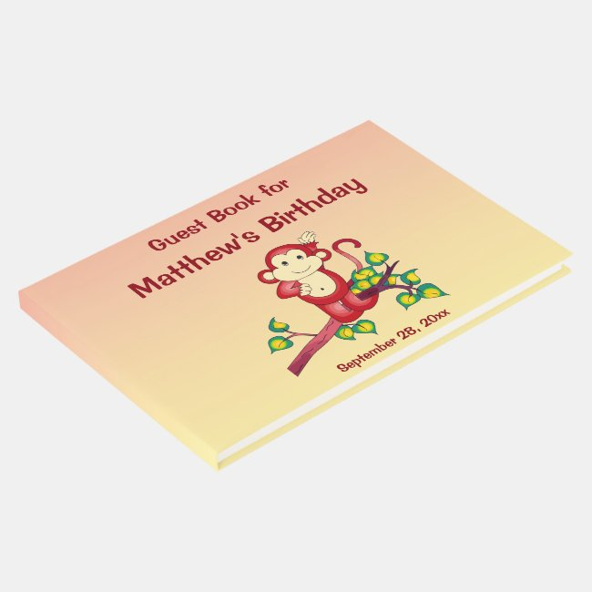 Red Monkey Animal Birthday Party Guest Book