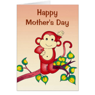 Red Monkey Animal Mothers Day Card