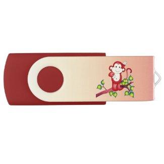 Red Monkey Animal Swivel USB 2.0 Flash Drive