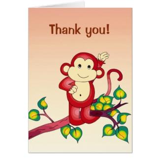 Red Monkey Animal Thank You