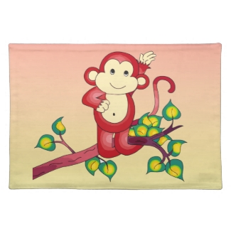 Red Monkey Animal Woven Cotton Placemats