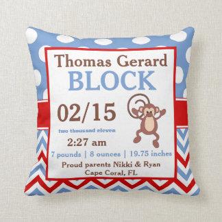 Red Monkey azul personalizó la invitación del bebé Almohadas