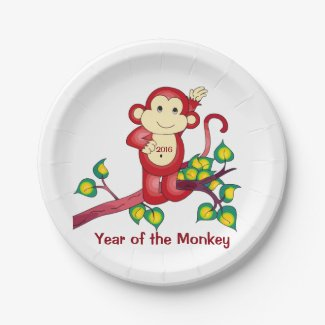 Red Monkey Chinese New Year 7 Inch Paper Plate
