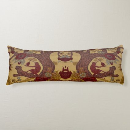 Red Monkey in Tree with Flowers Body Pillow