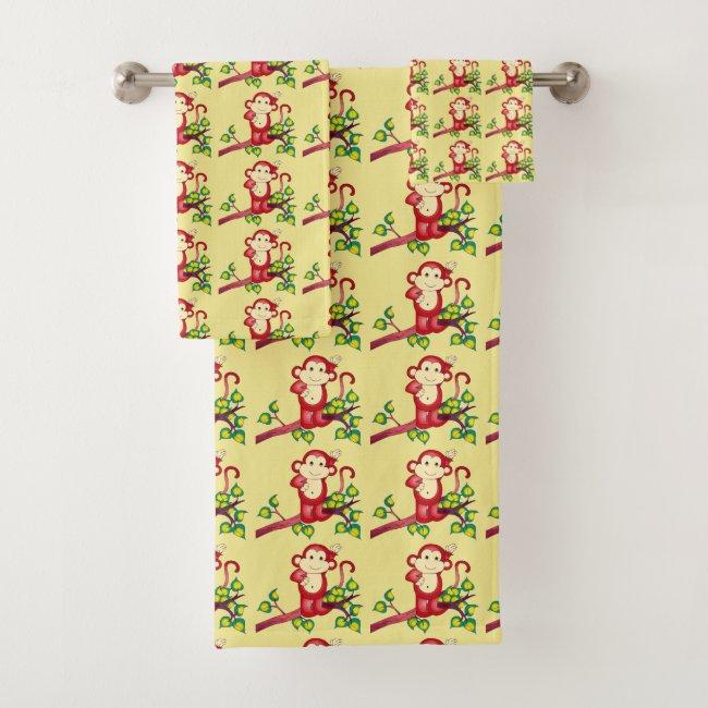 Red Monkey Pattern Bath Towel Set
