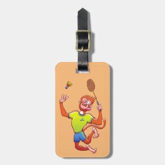 Red monkey playing badminton bag tag