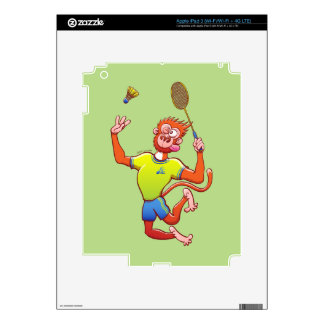 Red monkey playing badminton iPad 3 decal