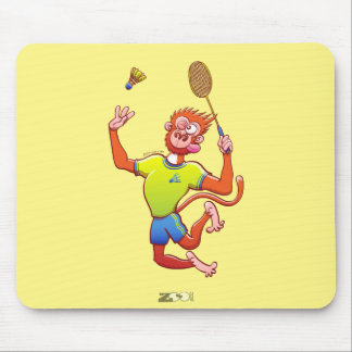 Red monkey playing badminton mouse pad