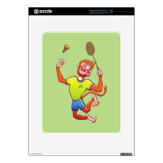 Red monkey playing badminton skin for the iPad
