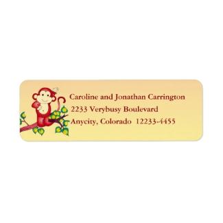Red Monkey Return Address Label