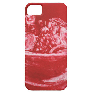 Red mono print bowl of fruit phone and ipad case