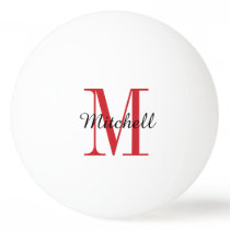 Red Monogram and Name Personalized Ping-Pong Ball